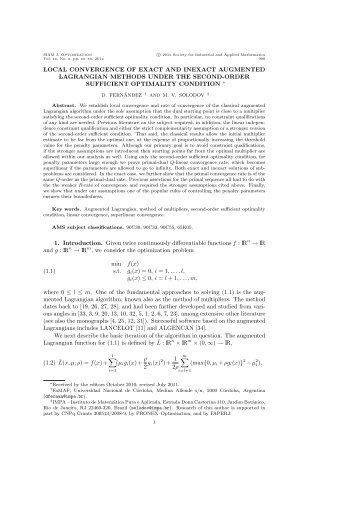 local convergence of exact and inexact augmented lagrangian ...