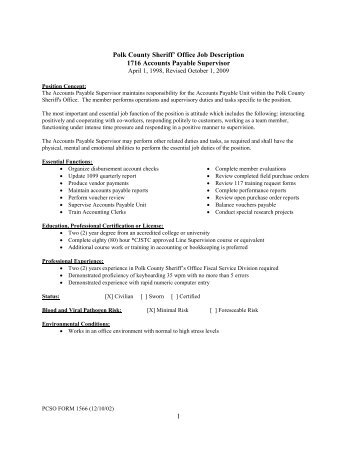 1 Polk County Sheriffu0027 Office Job Description 1716 Accounts Payable .  Accounts Payable Job Description