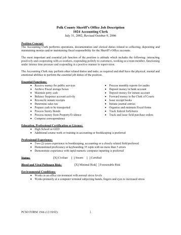 Accounting Clerk Job Description Polk County Sheriffs Office Job