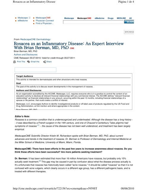 Rosacea as an Inflammatory Disease: An Expert Interview