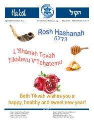 Hakol Sept-Oct.pdf - Beth Tikvah Synagogue, Toronto