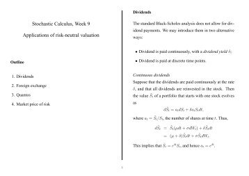 Stochastic Calculus, Week 9 Applications of risk-neutral valuation