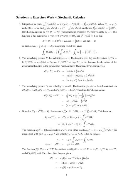 Solutions to Exercises Week 4, Stochastic Calculus
