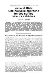 Value at Risk - Annales d'économie et de statistique