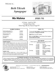 April 16, 2011 - Beth Tikvah Synagogue, Toronto