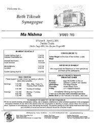 April 2, 2011 - Beth Tikvah Synagogue, Toronto