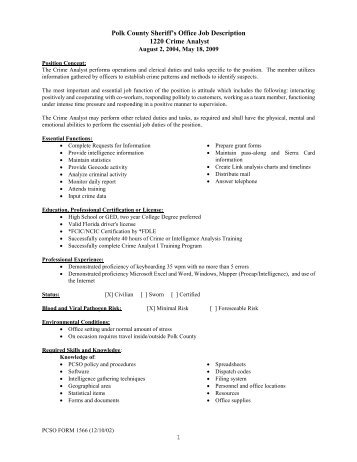 Job description of the Information Analyst/Writer