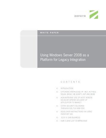 Using Windows Server 2008 as a Platform for Legacy Integration