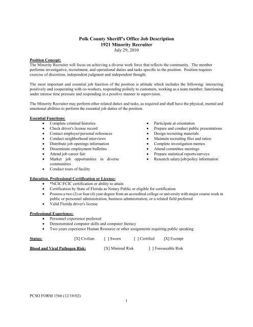 Polk County Sheriff's Office Job Description 1921 Minority