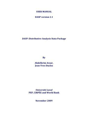 USER MANUAL DASP version 2.1 DASP - Population Studies Center