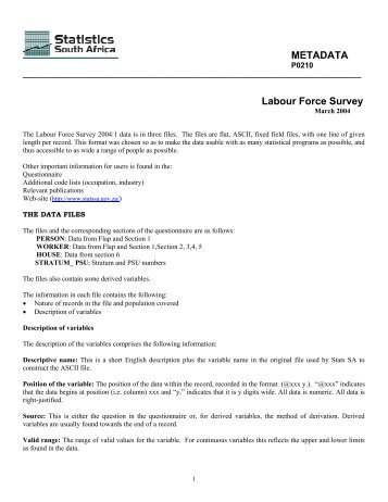 Labour Force Survey - Population Studies Center