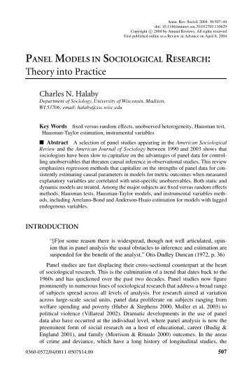 Theory into Practice - Population Studies Center