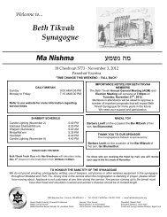 November 3rd, 2012 - Beth Tikvah Synagogue, Toronto