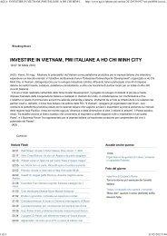 INVESTIRE IN VIETNAM, PMI ITALIANE A HO CHI MINH CITY - Unido