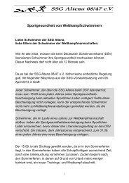 Informationen zur Sportgesundheit - SSG Altena 08/47 eV