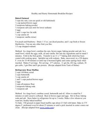 Healthy and Hearty Breakfast Recipes - Reedsburg Utility Commission