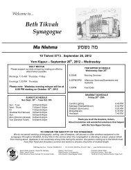 September 26, 2012 - Beth Tikvah Synagogue, Toronto