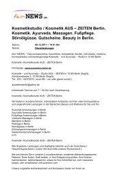 ZEITEN Berlin. Kosmetik. Ayurveda. Massagen ... - fair-NEWS.de