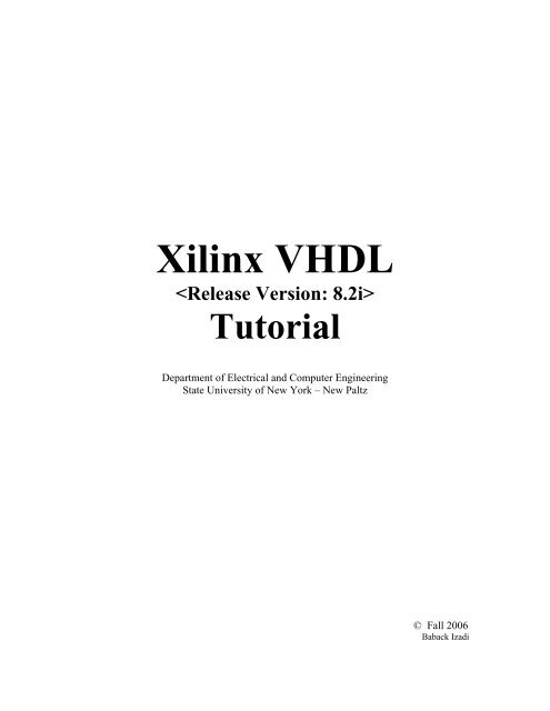 Xilinx VHDL Tutorial pdf - Engineering