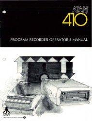 Atari 410 Program Recorder Operator's Manual - Chicago Classic ...