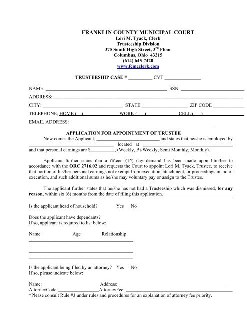 Application - Franklin County Municipal Court