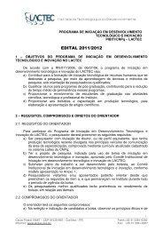 Edital 2011/2012 – PIBITI/CNPq - LACTEC