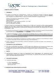 CONVITE LACTEC N° 003/2009 Caixa Postal 19067 –