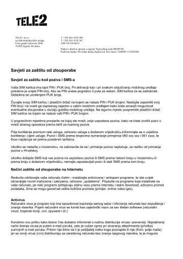 Savjeti za zaštitu od zlouporabe - Tele2