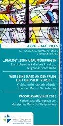 Programm des Evang. Kirchenkreises Halle-Saalkreis für April - Mai 2015