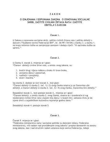 Zakon o izmjenama i dopunama zakona o osnovama socijalne ...