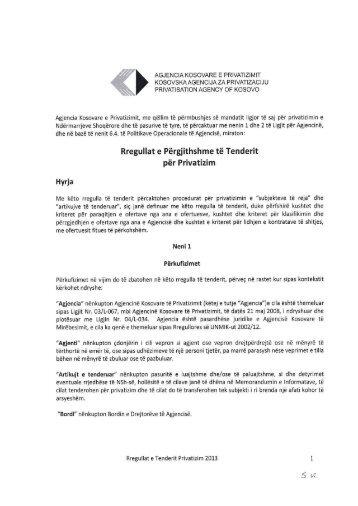 Rregullat e Përgjithshme të Tenderit - PRIVATIZIMShkarko si PDF