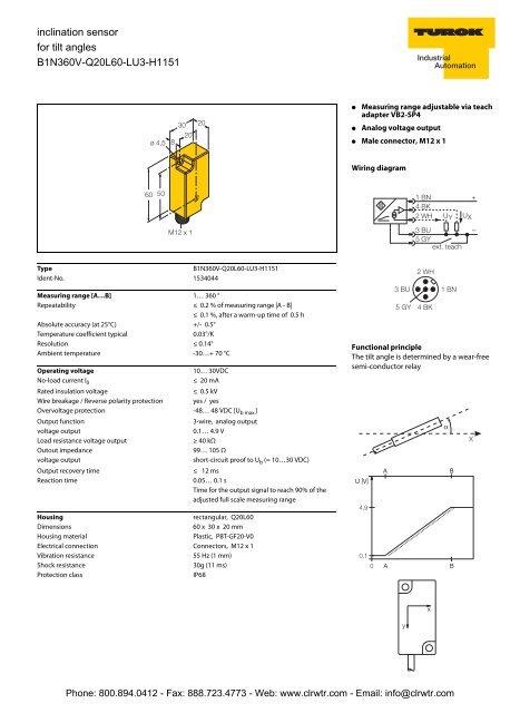 TURCK Single Axis Inclinometer Sensor For Angular Tilt Detection