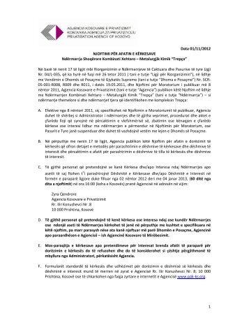 Njoftimi i kreditoreve_ALBx - Agjencia Kosovare e Privatizimit