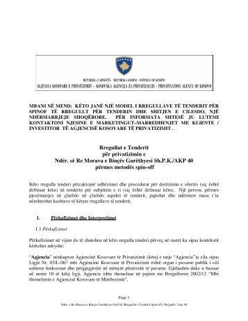 Rregullat e Tenderit për privatizimin e Ndërmarrjes së Re Morava e ...