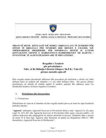 Rregullat e Tenderit për privatizimin e Ndër. së Re Rilindja Libraria ...