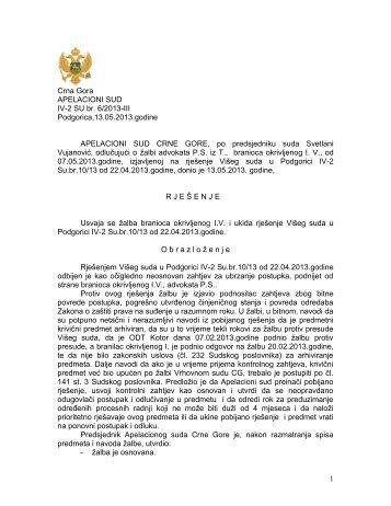 IV-2 SU br. 6-2013-III - Sudovi Crne Gore