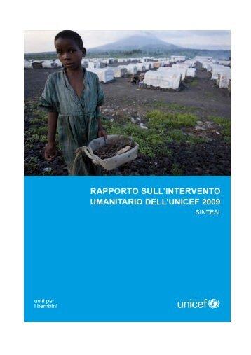 Rapporto sull'intervento umanitario UNICEF 2009