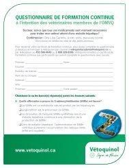 www.vetoquinol.ca QUESTIONNAIRE DE FORMATION CONTINUE
