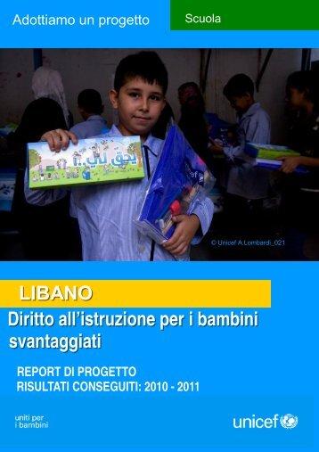 Diritto all'istruzione per i bambini svantaggiati LIBANO - Unicef