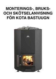 monterings-, bruks- och skötselanvisning för kota bastuugn - Narvi Oy