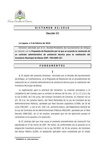 Dictamen 63/2010, solicitado por el Sr. Alcalde-Presidente del ...