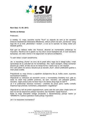 Otvoreno pismo Savetu za Å¡tampu 13 05.pdf - Liga socijaldemokrata ...