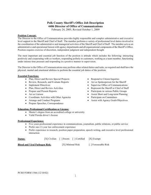 1 Polk County Sheriff's Office Job Description 4406 Director