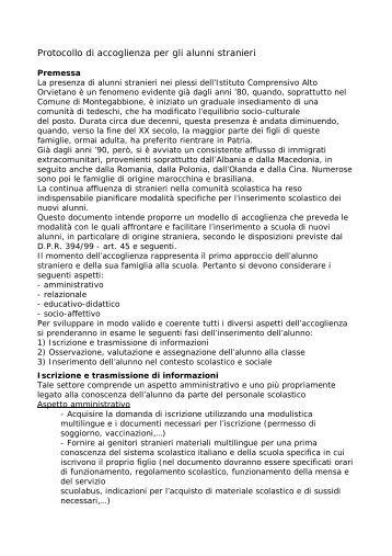 Protocollo accoglienza alunni stranieri - Istituto Comprensivo Alto ...