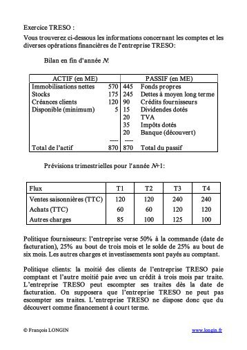 Cas TRESO - Plan de trésorerie (présentation stock / présentation flux)
