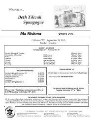 September 28, 2012 - Bethtikvahtoronto.org