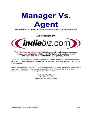 managers vs agentspdf music contracts
