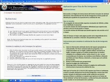 Aplicación para Visa de No inmigrante Instrucciones