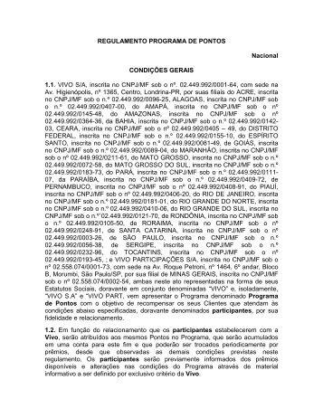 REGULAMENTO PROGRAMA DE PONTOS Nacional CONDIÇÕES ...