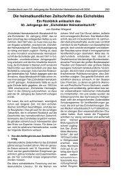 Die heimatkundlichen Zeitschriften des Eichsfeldes